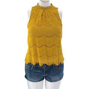 Love, Fire (M) Yellow Lace Crop Top